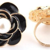 8 Pieces of Gold with Black Flower with Pearl Adjustable Ring