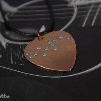 Braille Jewelry - guitar pick necklace - HOPE - love gifts