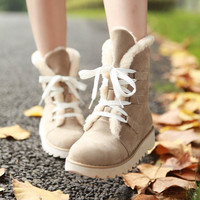 Women's Winter Casual Lacing Cotton-padded Flat Heel Ankle Snow Boots