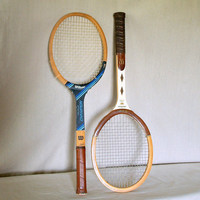 HIS & HERS 2 VINTAGE Tennis Rackets Solid Wood Retro Tennis Racquets Set of 2 Jack Kramer Pro Staff Collection and Chris Evert Champion