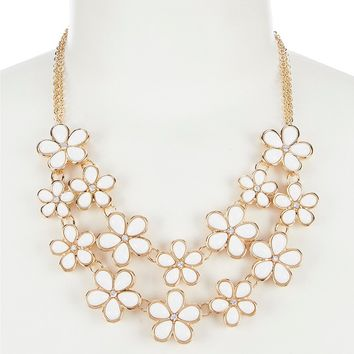 Dillard's Two Row White Flower Frontal Necklace | Dillard's