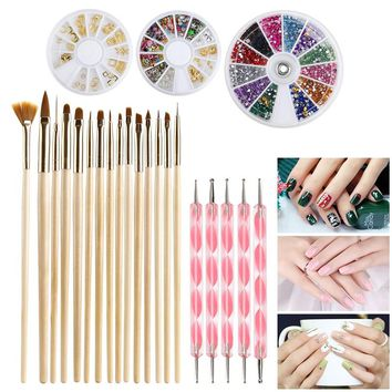 ETEREAUTY Nail Art Kit 15pcs Gold Wooden Nail Art Brush 12 Colors Nail Rhinestones 5pcs Pink Dotting Pens 12 Colorful Nail Art Rhinestones and Gold Nail Art Studs