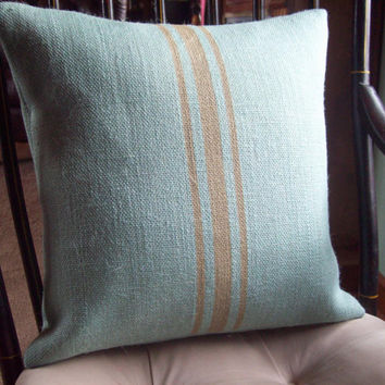 Blue Burlap Grain Sack Decorative Pillow Cover 16 x 16 by North Country Comforts