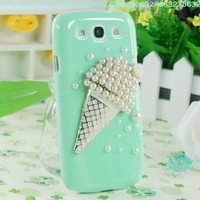 3D Cute Icecream Handmade Green Bling Crystal Case Cover for Samsung Galaxy S3 I9300:Amazon:Cell Phones & Accessories