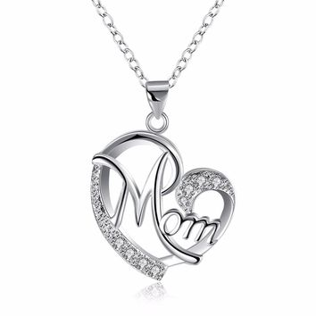 A Mother's Heart Silver Plated Pendant Necklace