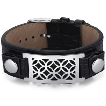 Leather and Stainless Steel Overlapping Circles Belt Buckle Unisex Bracelet