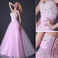 Homecoming Beaded A-line Tulle Quinceanera/Ball gown/Evening/Wedding Prom Dress