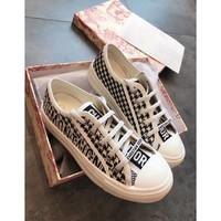 Kuyou Gx19711 Dior Women's Black Logo Embroidery Low Tops Canvas Shoes