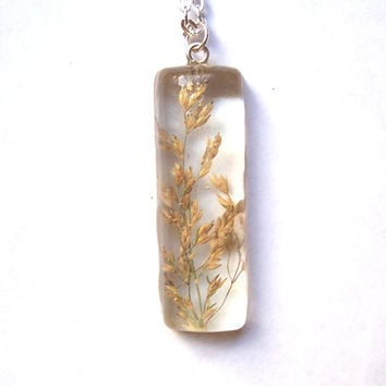 Real Dried Grasses in Clear Resin Pendant Necklace