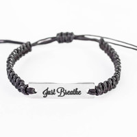 Just Breathe, Inspiration Bracelet, Word Bracelet