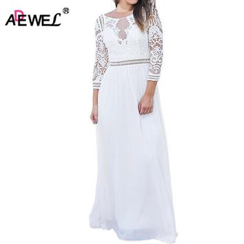 ADEWEL 2018 Spring Elegant Women Floral Lace Long Dress Floor Length Party Dresses Ladies 3 Quarter Sleeve Maxi Chiffon Dress