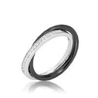 Double-band Ceramic Eternity Ring - Black, size : 06