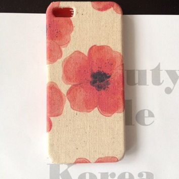 Flower Print floral iphone 5 case, floral iphone case 4, iphone 5 case, fabric iphone 4 case,