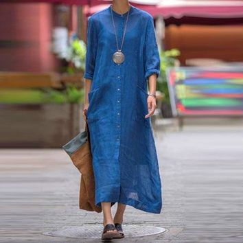 O Neck Long Sleeve Buttons Down Cotton Linen Long Shirt Dress Plus Size