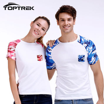 Couple T-shirt Toptrek Men Camouflage Camo T shirt With Pocket Cotton Army Tactical Combat Military New 2016 Tops & Tees