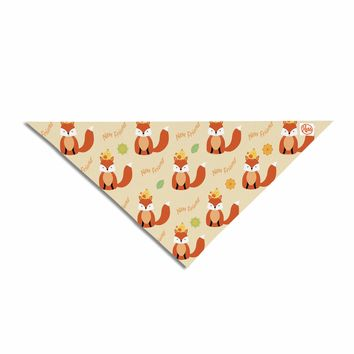 "Cristina Bianco Design ""Fox - New Friends - Pattern"" Orange Yellow Illustration Pet Bandana"