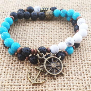 Men's Gifts Rudder Anchor Nautical Jewelry Ship Wheel Bracelet Stackable Men's Bracelet Set Boho Men Gifts Boho Bracelet Stacks Beaded Charm