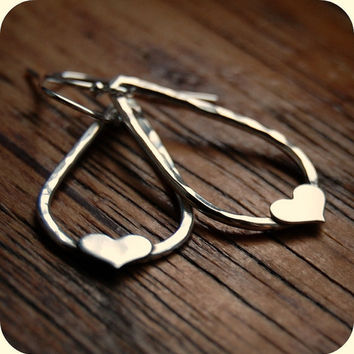 Sterling Silver Earrings - Recycled Sterling Silver - Eco Friendly - Heart in a Teardrop