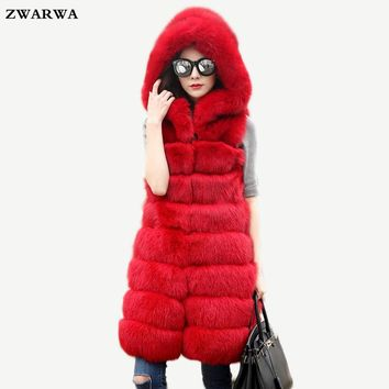2017 New Arrival Luxury faux Rabbit fur vest sleeveless Hooded coat fake fox fur waistcoat winter women outwear high quality Hot