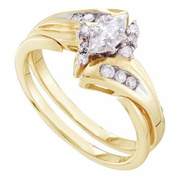 14kt Yellow Gold Women's Marquise Diamond Bridal Wedding Engagement Ring Band Set 1/4 Cttw - FREE Shipping (US/CAN)