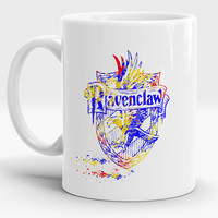 Ravenclaw mug, Qualities Students of this house, Harry Potter gift, Houses crest, Watercolor Art Cup