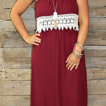 Lovely in Lace Maroon Maxi Dress with Crochet Lace Trim