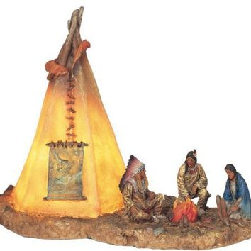 Native Americans w/ Lighting Tipi Collectible Indian Decoration Statue