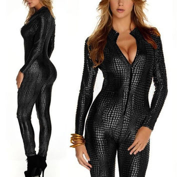 GOTHIC SNAKE SKIN Print Plaid Lycra BLACK Bodysuit Playsuit Catsuit @P7125 = 1916812420