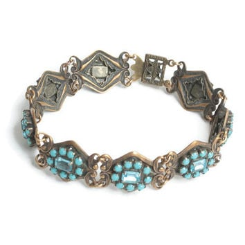 Turquoise Bead and Rhinestone Link Bracelet Filigree Repousse Links Vintage Bracelet Gift for Her