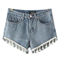 Fringed Denim Shorts