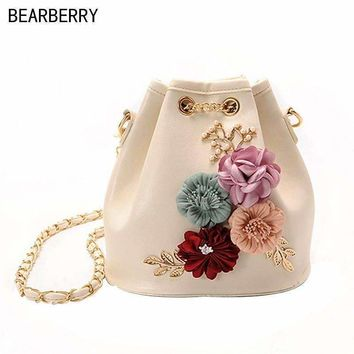 Bearberry handmade Leaves Decals flowers bucket bags mini shoulder bags with chain Drawstring small cross body bags pearl bags