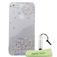 Frog-tech xmas merry christmas SnowFlake Series 3D Blue Crystal Winter Snowflake iPhone 5 5S Case Cover for The Snowing Season + silver stylus+ microfiber cloth