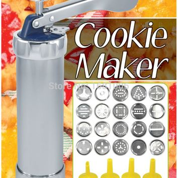 cookie extruder Press Machine aluminium Biscuit Maker Cake Making Decorate Gun cookie cutter baking Tool 20 Molds 4 nozzles K102