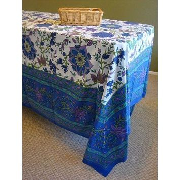 Handmade 100% Cotton Floral Print Tapestry Tablecloth Bedspread 60x88 Blues Twin