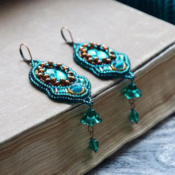 Unique gift|for|women best gifts|for|her Beadwork earrings beaded jewelry Emerald earrings Statement earrings Dainty earrings Green earrings
