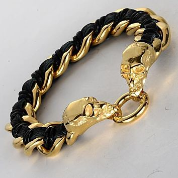 Biker Skull Steel And Leather Bracelet - Black/Gold/Brown