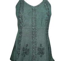 Beautiful Floral Embroidered Top Green Sleeveless Tie Back Bohemain Fashion Gypsy Blouse