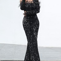 Savage Feather Sequin Maxi Dress