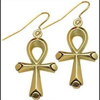 Egyptian Ankh Dangle Two Sided Earrings