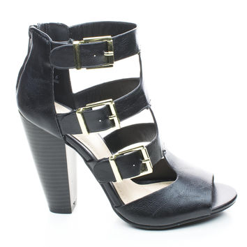Mash13 Black By Bamboo, Peep Toe Stacked Chunky Heel Zipper Triple Buckle Strappy Sandals