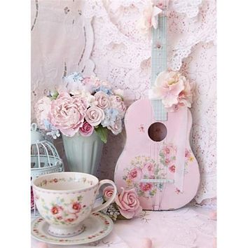 5D Diamond Painting Tea Cup and Ukulele Kit