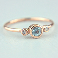 Rose Gold Aquamarine and Diamond Ring 14k Gold by ManariDesign
