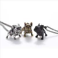 Boho Hippie Vintage French Bulldog Necklace Women Lovely Puppy Bull Dog Statement Necklace for Women Fashion Jewelry