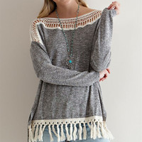 Laurel Fringed Hi-Low Sweater: Gray