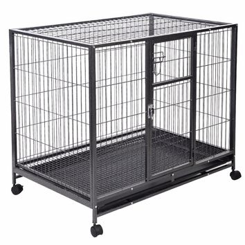 Heavy Duty Black 42'' Dog Crate Cage Kennel With Metal Wire. (Playpen)
