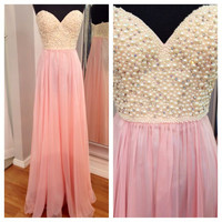 Pink Prom Dress Sweetheart Neck Pearl Beaded Bodice Long Formal Dress APD1653