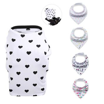 Hearts Multi-Use Nursing Cover and Bib Bundle