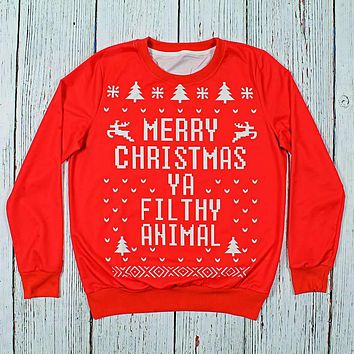 Merry Christmas Ya Filthy Animal Sweatshirt by Preppy Elves