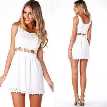 FASHION WAIST HOLLOW OUT LACE DRESS