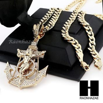 ICED OUT L ANCHOR JESUS CRUCIFIX PENDANT & DIAMOND CUT CUBAN LINK CHAIN NN49